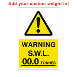 Safe Working Load Sign Tonnes Custom Weight | PVCSafetySigns.co.uk