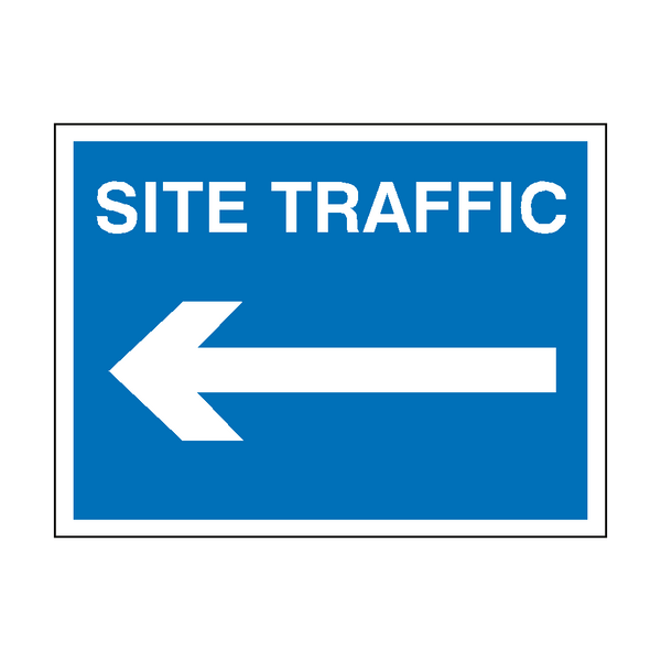 Site Traffic Arrow Left Sign | PVC Safety Signs