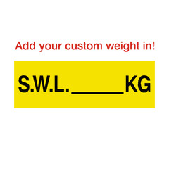 SWL Sign Kg Yellow Custom Weight | PVC Safety Signs | Health and Safety Signs