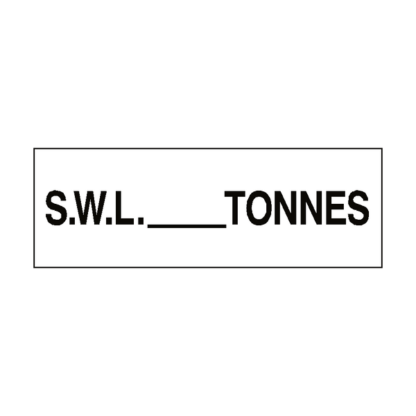 S.W.L Sign Tonnes White - PVC Safety Signs