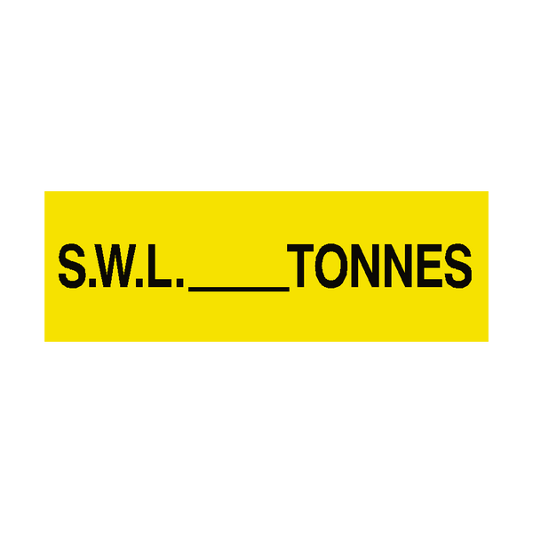 S.W.L Sign Tonnes Yellow | PVC Safety Signs