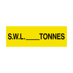 S.W.L Sign Tonnes Yellow | PVC Safety Signs | Health and Safety Signs