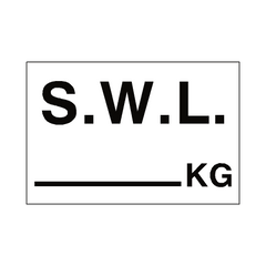 S.W.L KG Sign White | PVC Safety Signs | Health and Safety Signs