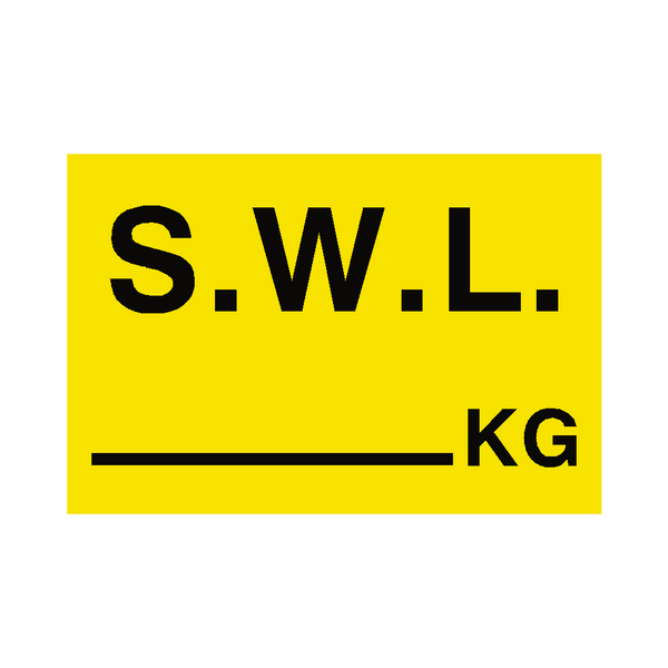 S.W.L KG Sign Yellow - PVC Safety Signs