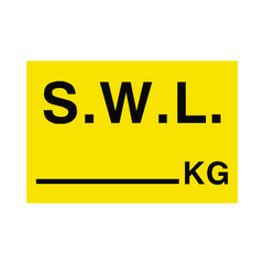 S.W.L KG Sign Yellow | PVC Safety Signs | Health and Safety Signs