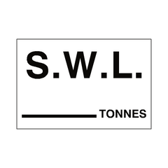 S.W.L Tonnes Sign White | PVC Safety Signs | Health and Safety Signs