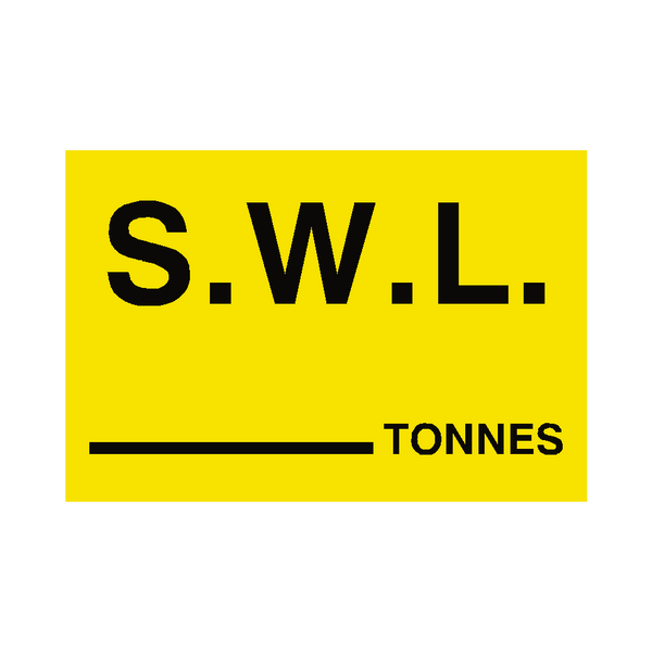 S.W.L Tonnes Sign Yellow - PVC Safety Signs