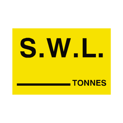 S.W.L Tonnes Sign Yellow | PVC Safety Signs | Health and Safety Signs
