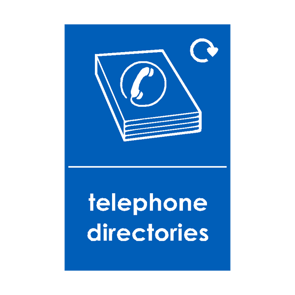 Telephone Directories Waste Recycling Signs | PVC Safety Signs