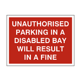 Dont Park In Disabled Bay Sign - PVC Safety Signs