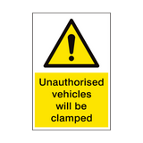 Vehicles Will Be Clamped Security Sign | PVCSafetySigns.co.uk