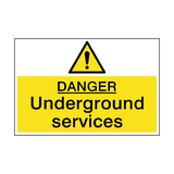 Danger Underground Services Sign | PVCSafetySigns.co.uk
