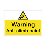 Warning Anti-Climb Paint Hazard Sign | PVCSafetySigns.co.uk