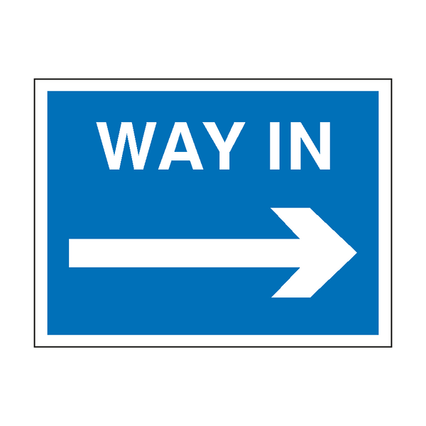 Way In Arrow Right Site Sign | PVC Safety Signs