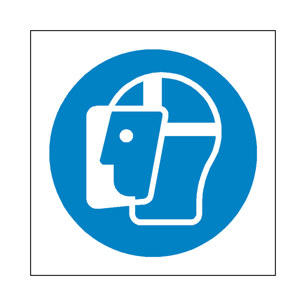 Wear Face Shield Symbol Sign | PVCSafetySigns.co.uk