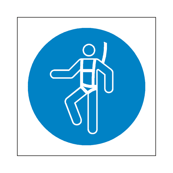 Wear Safety Harness Symbol Sign | PVC Safety Signs