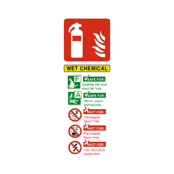 Wet Chemical Fire Extinguisher Sign - PVC Safety Signs