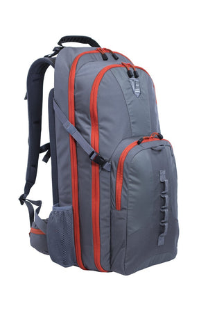 STEALTH - Covert Operations Backpack in gray with orange trim, exterior photo