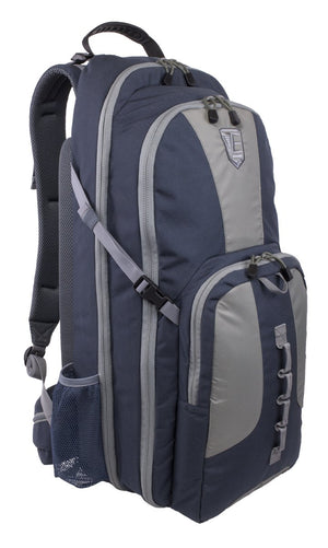 STEALTH - Covert Operations Backpack in indigo blue with gray trim, exterior photo