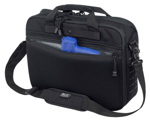 Concealed carry messenger bag with gun compartment showing, black color