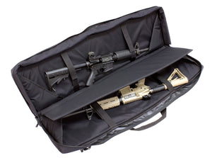 Double rifle case interior picture showing two guns tied down inside, in black color