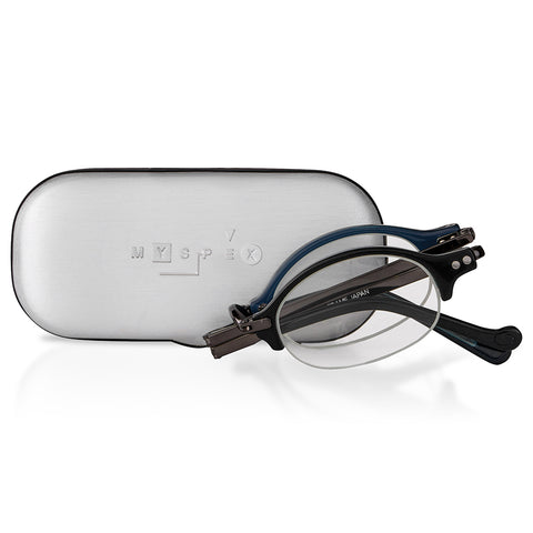 MySpex 102 (pewter) |  Luxury Japanese Design Folding Reading Glasses with Metal Travel Case
