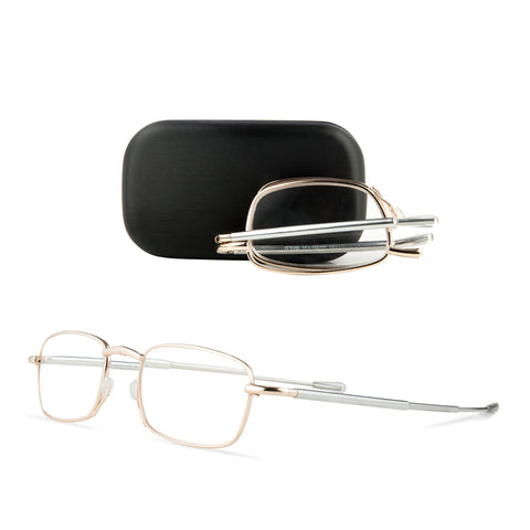 Stylish Gold Frame Foldable Spectacles with Mini Case
