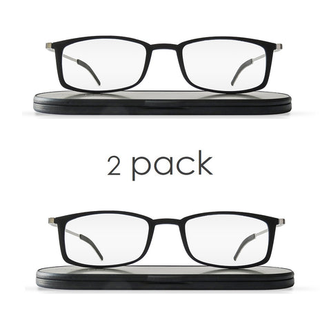 soho duo | 2 pairs of stylish, super lightweight black frame reading glasses with ultra-slim case
