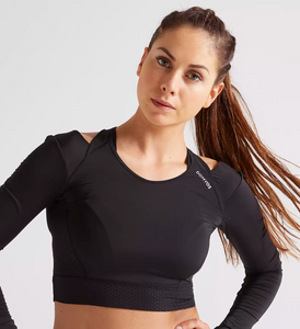 CROP TOP FOR FITNESS AND CARDIO TRAINING WOMEN'S FJA 900 DOMYOS