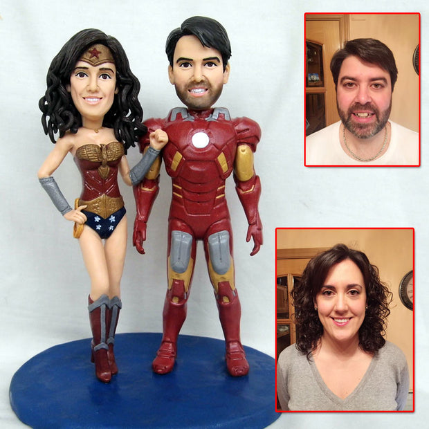 Wonderwoman and Ironman Bobble Head Figurine customized
