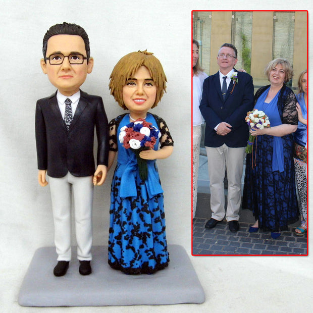Old Couple Wedding Bobble Head Figurine