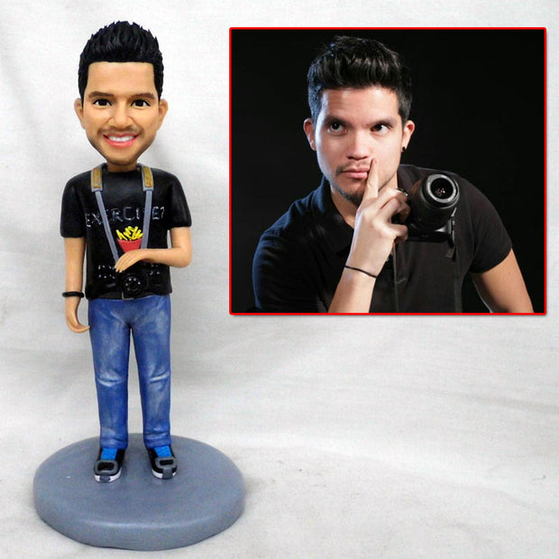Customize Camera Man bobble head figurine