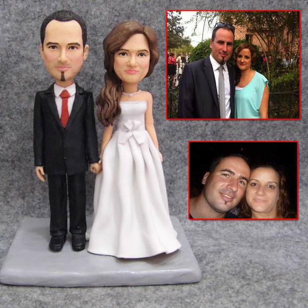 USA Wedding Couple Bobble Head Figurine