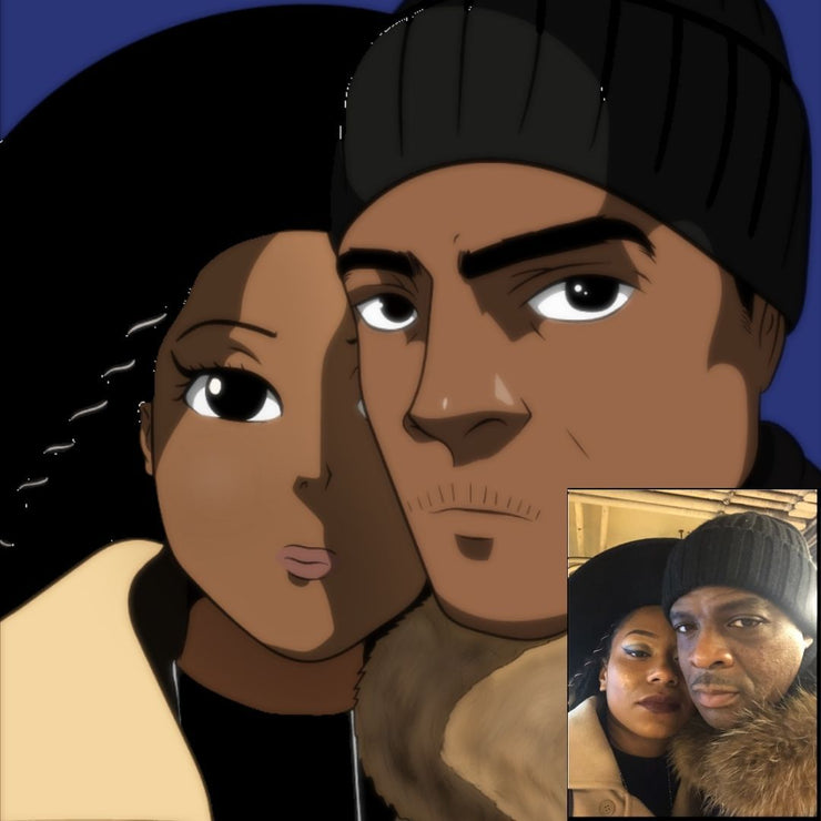 Black Couple in Anime Form