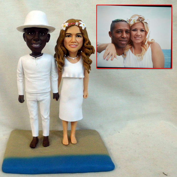 Interracial Couple Wedding Bobble Head Figurine with Beach background