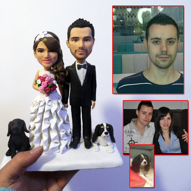 Wedding Couple Bobble Head Figurine with two pet dog
