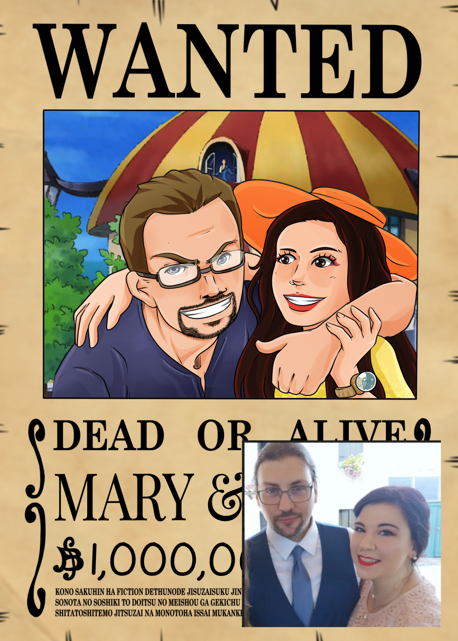 One Piece Wanted Poster Couple Portrait