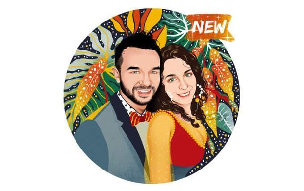 Round Couple Portrait Vector Art Style Customizable Art Available