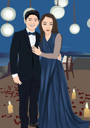 Couple Portrait Vector Art Style Customizable Art Available Great For Anniversary Gift