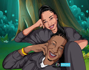 Creative Black Couple Realism Art Style For Valentine, Anniversary Day