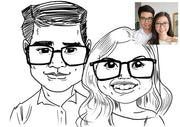 A funny sketch for a couple with spectacle. Cuteness overflows