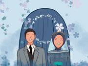 Creative Couple Cartoon Art Style For Valentine, Anniversary Day, Wedding