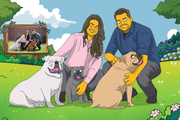 A simpson style art for family and dogs great gift for anniversary and festival event