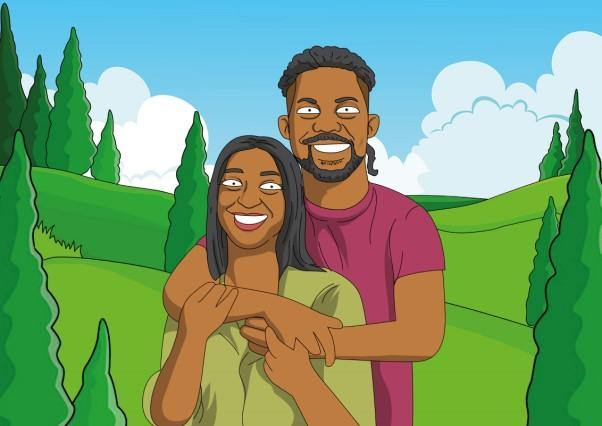 Simpsons style couple which coupleofthings artist drawn accurately representing you and your partner in a custom background