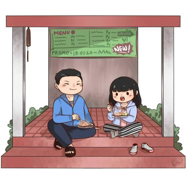 Couple Portrait Artwork, Our Artist will create a lovely art couple portrait in cartoon style for your anniversary gift
