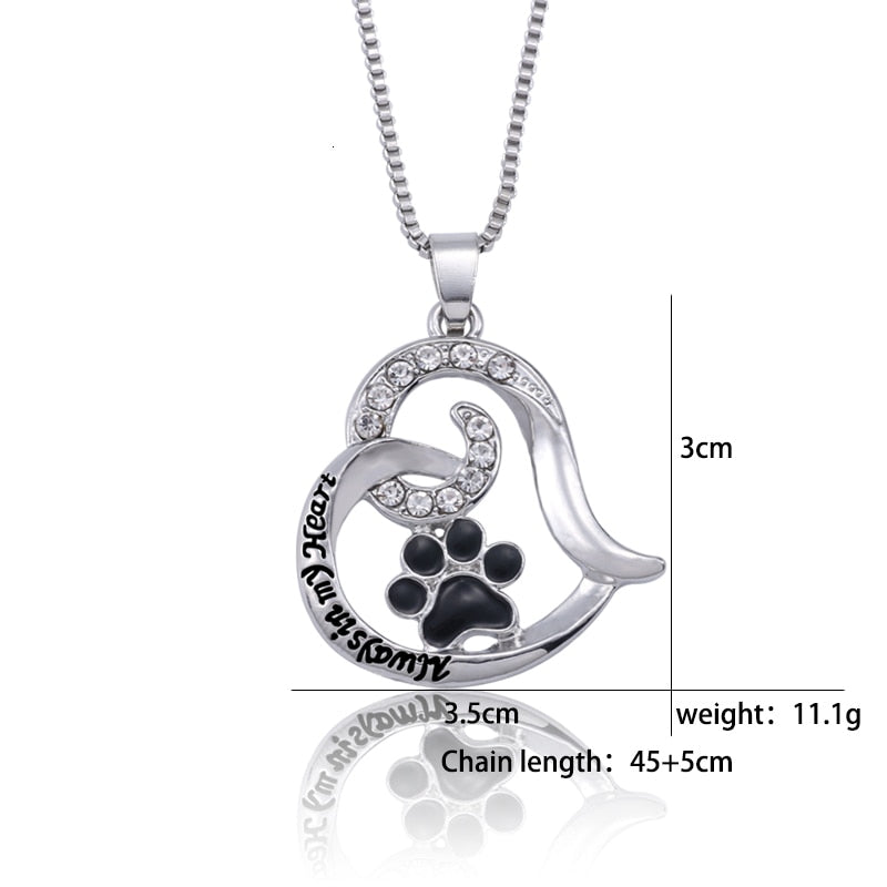 Love My Doggy Rhinestone Always In My HeartHeart Necklace