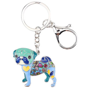 Love My Doggy Enamel Multi Colored Pug Keyring