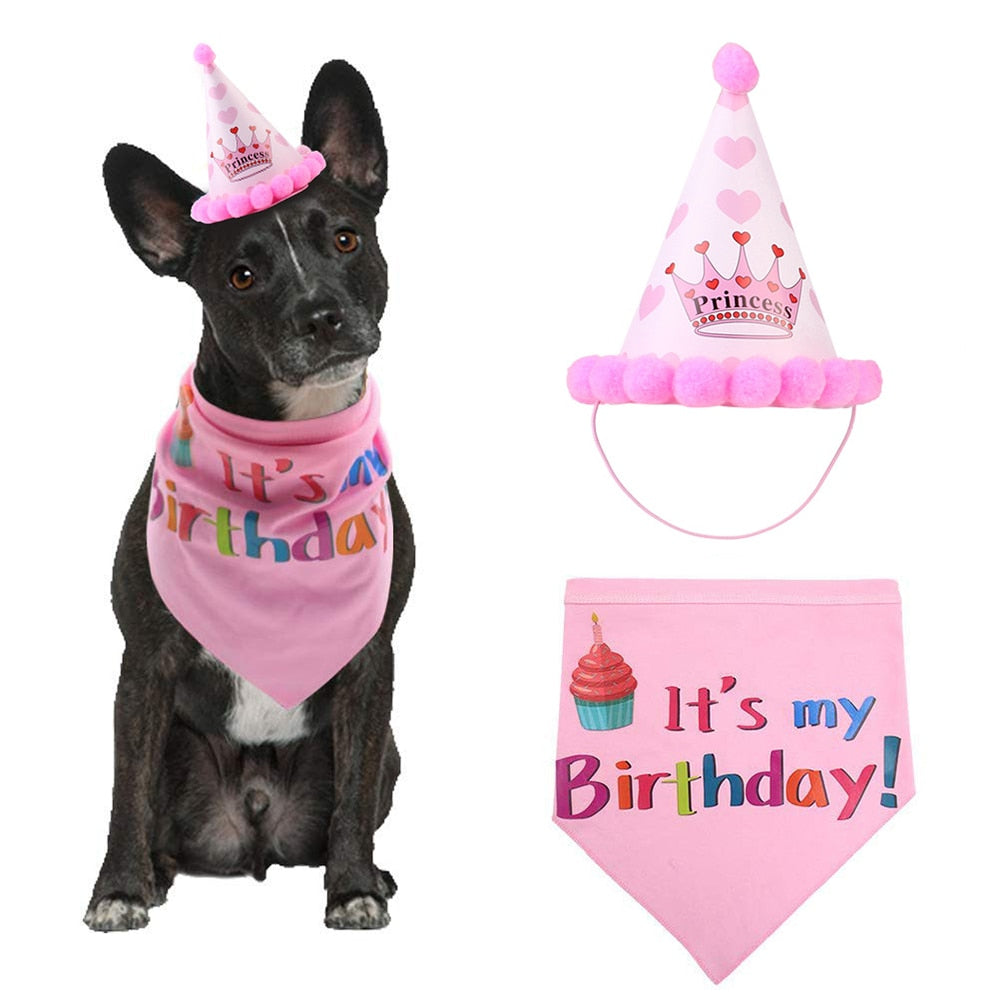 Love My Doggy Sequined Pet Birthday Hat with Bib