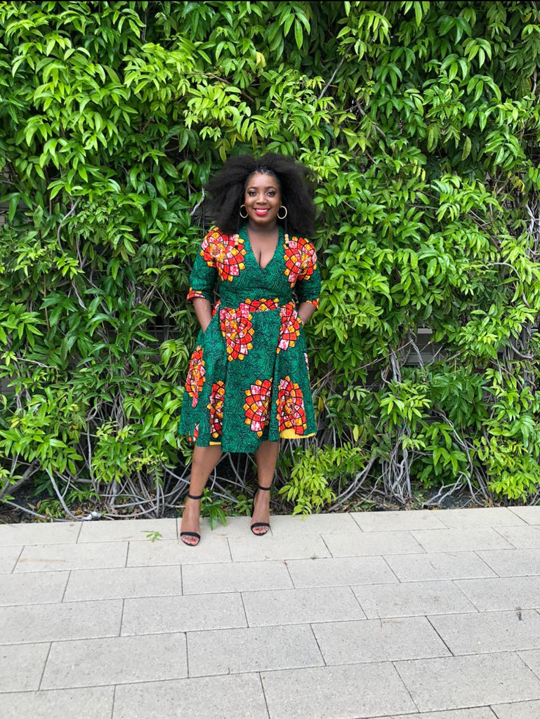 Birthday Girl in Green Ankara dress