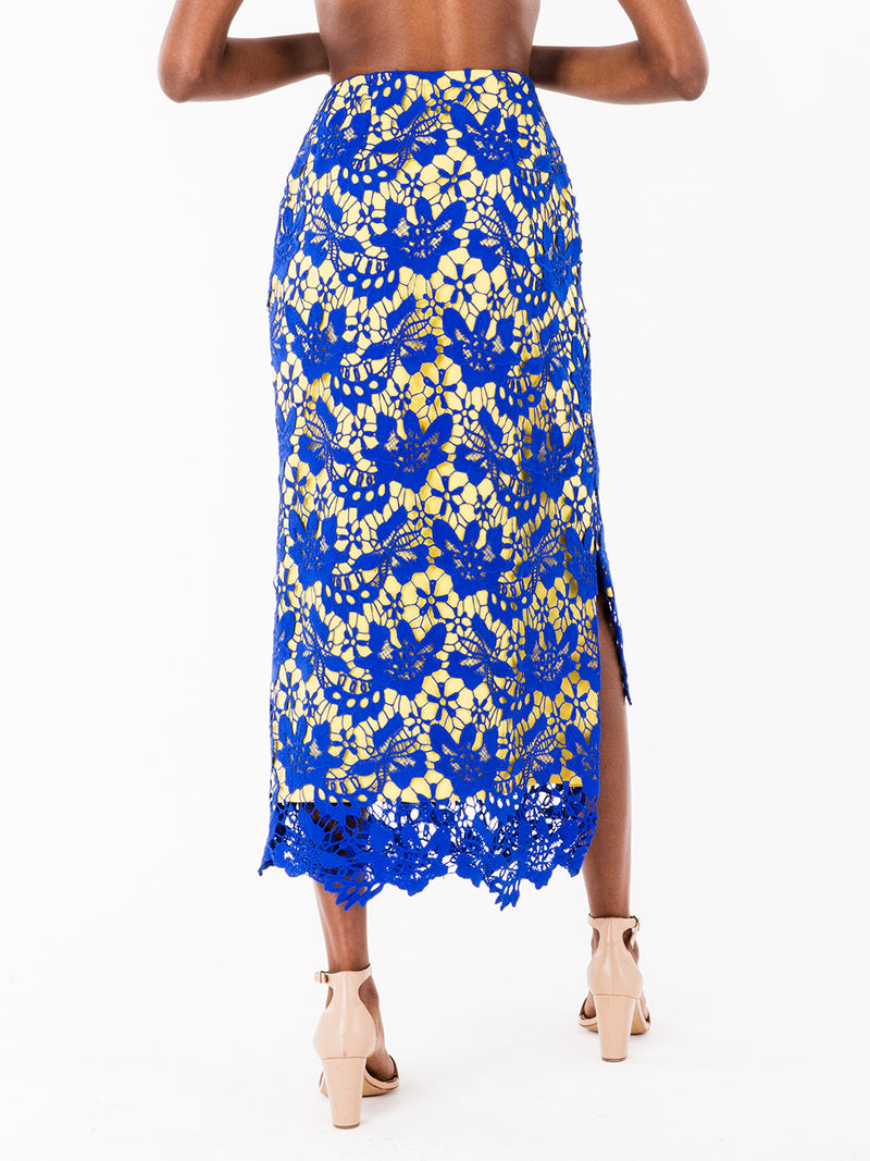 Dani Blue Lace Midi Pencil Skirt II - NeoBantu